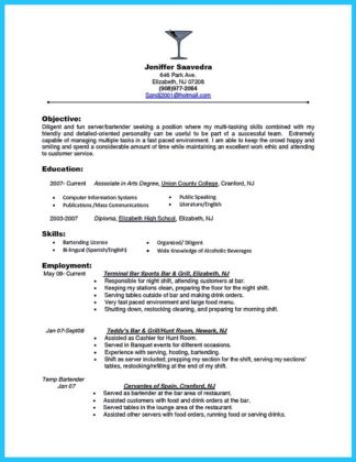 bartenders resume template download and bartenders resume sample no experience