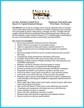 bartending on resume and bartending resume cover letter