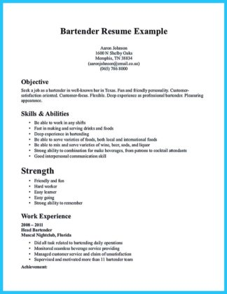 bartending resume templates with no experience and bartending resume samples