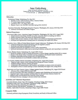 basic college student resume examples