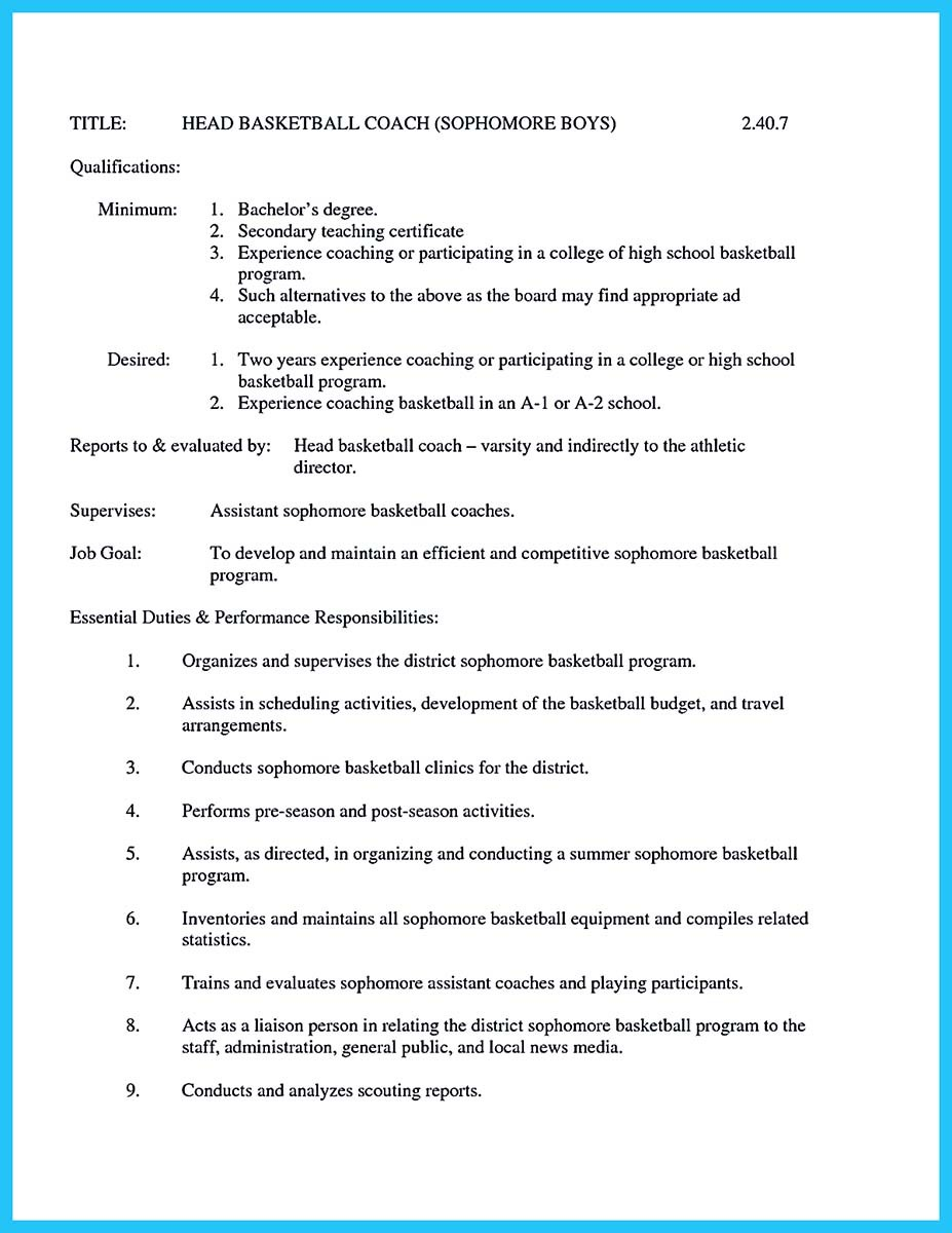 assistant tennis coach resume