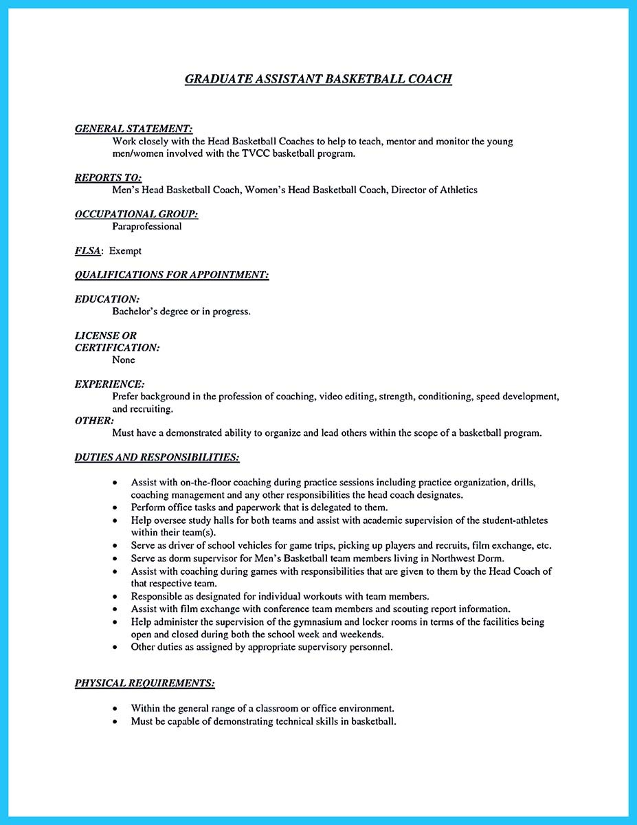 Basketball Coach Resume Samples And Cover Letter Sample