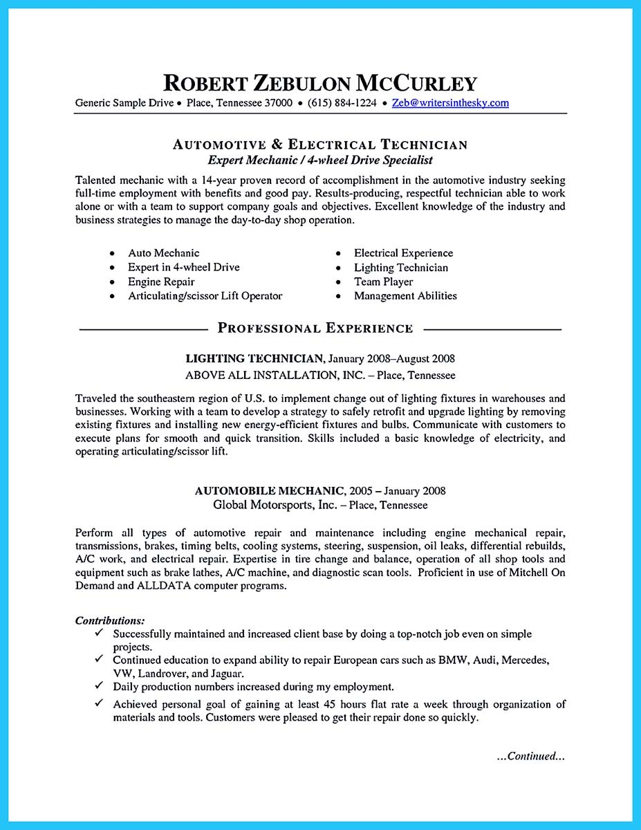 best auto mechanic resume