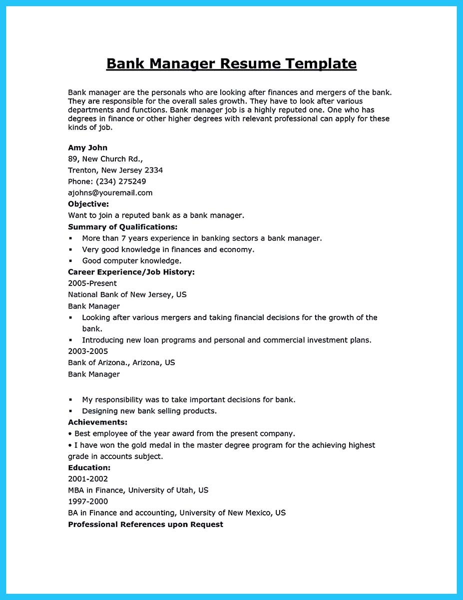 best bank manager resume