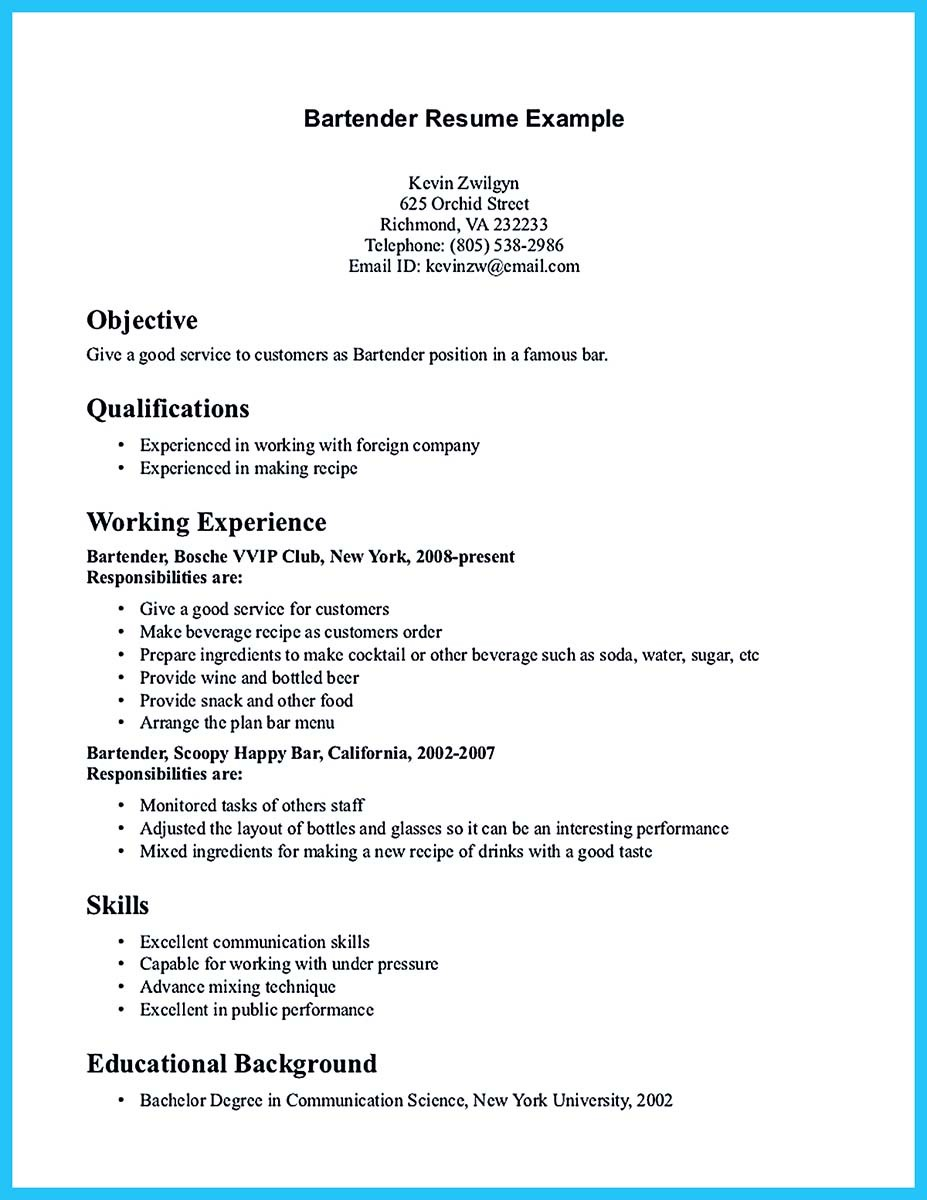 best bartender resume sample and bartender sample resume template - New Bartender Resume