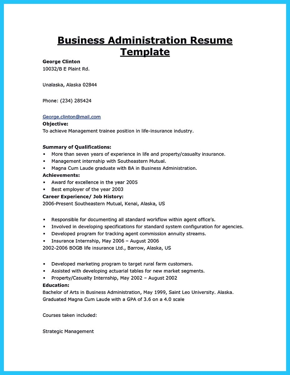 best business administration resume