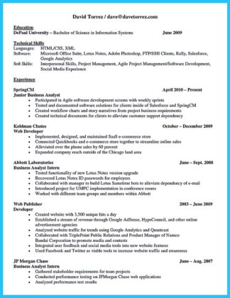 best business systems analyst resume
