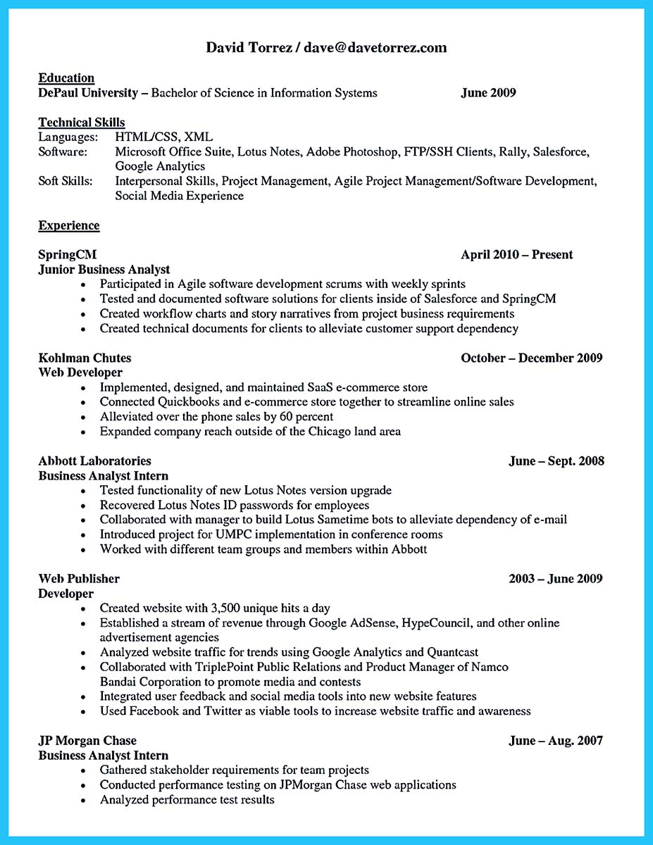 business analyst sample resume - Test Analyst Sample Resume