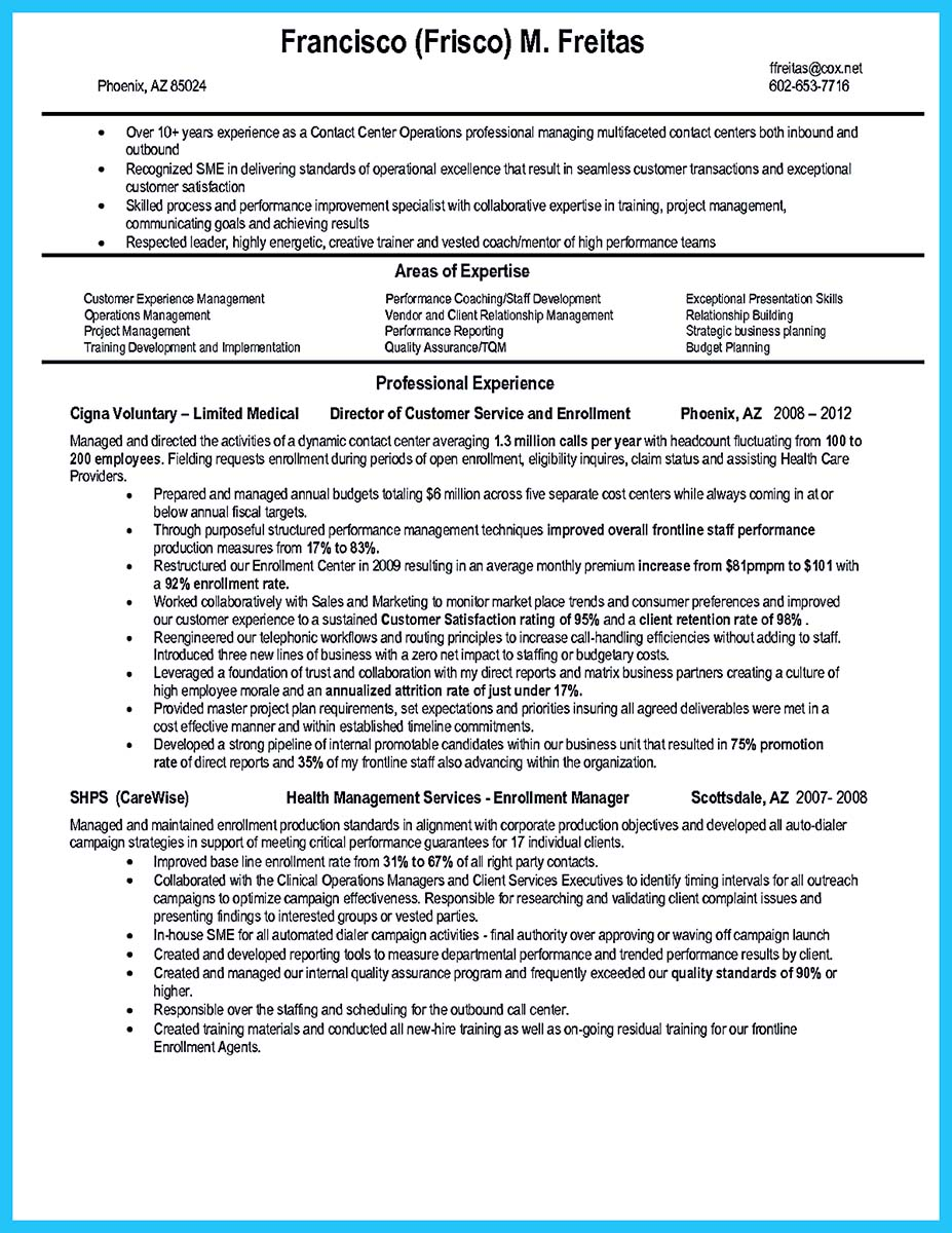 best call center resume objective