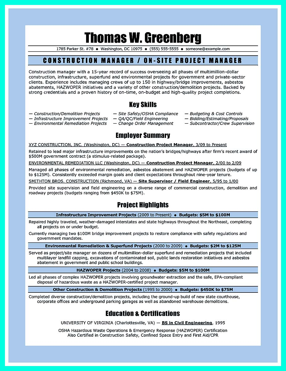 best construction management resume