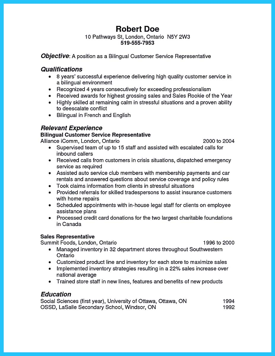 bilingual call center resume sample