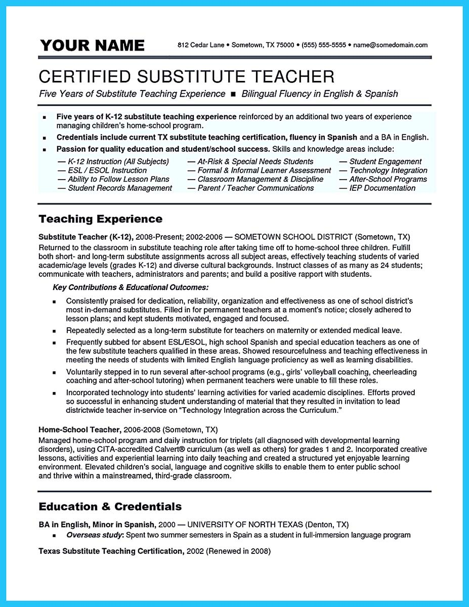 Sample resume bilingual teacher