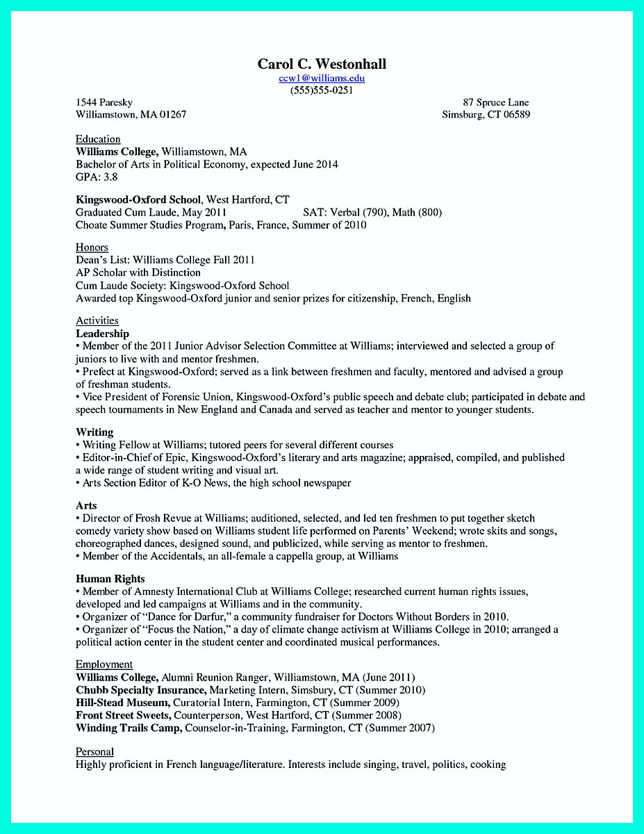 Sample ...  Resume For College Graduate