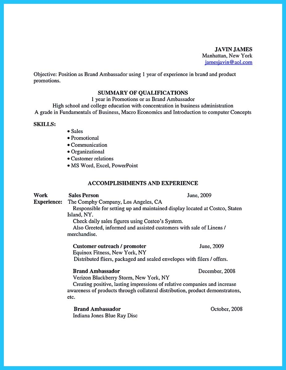 brand ambassador resume samples and brand ambassador resume format