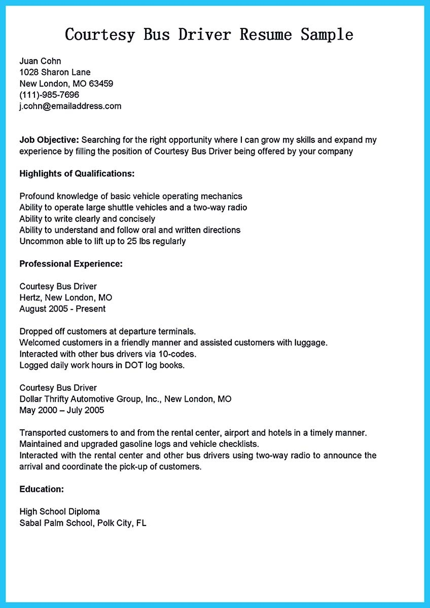 Stunning Bus Driver Resume to Gain the Serious Bus Driver Job – Resume for Driver