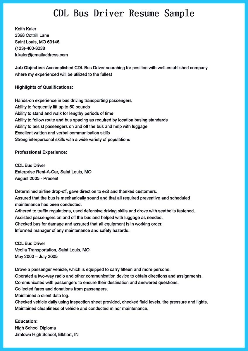 Bus Driver Resume truck driving skills for resume cover letter – Sample Bus Driver Resume