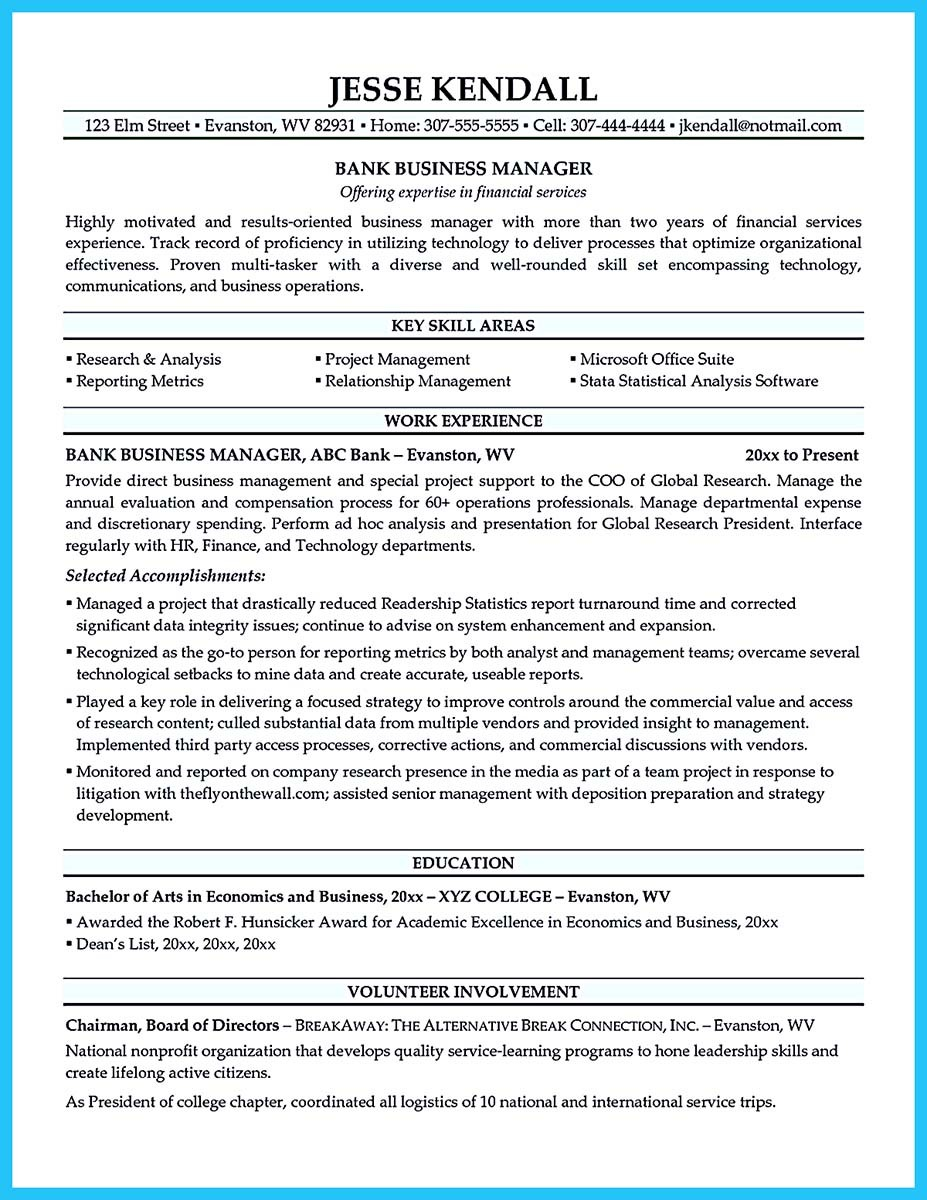 business administration resume cover letter