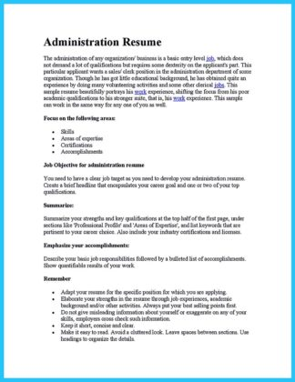 business administration resume format