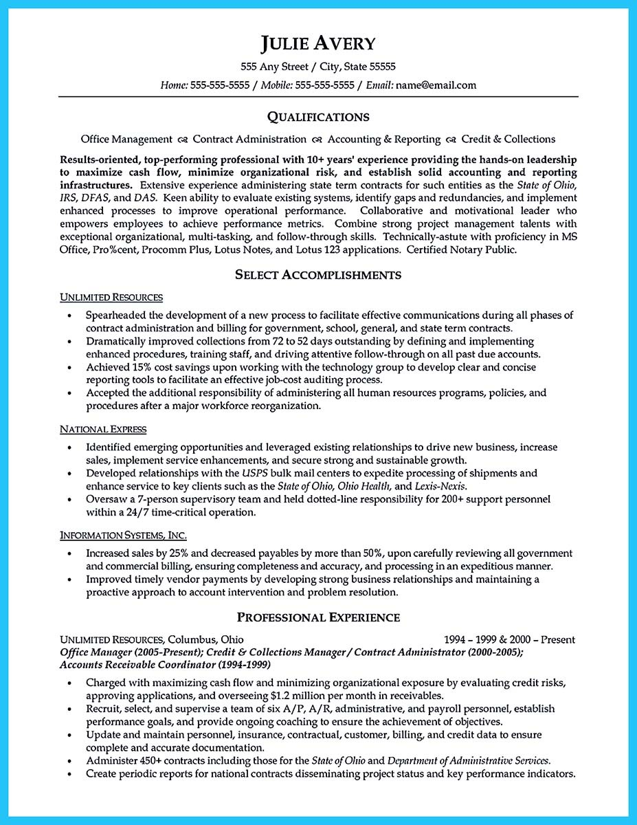 business administration resume writing