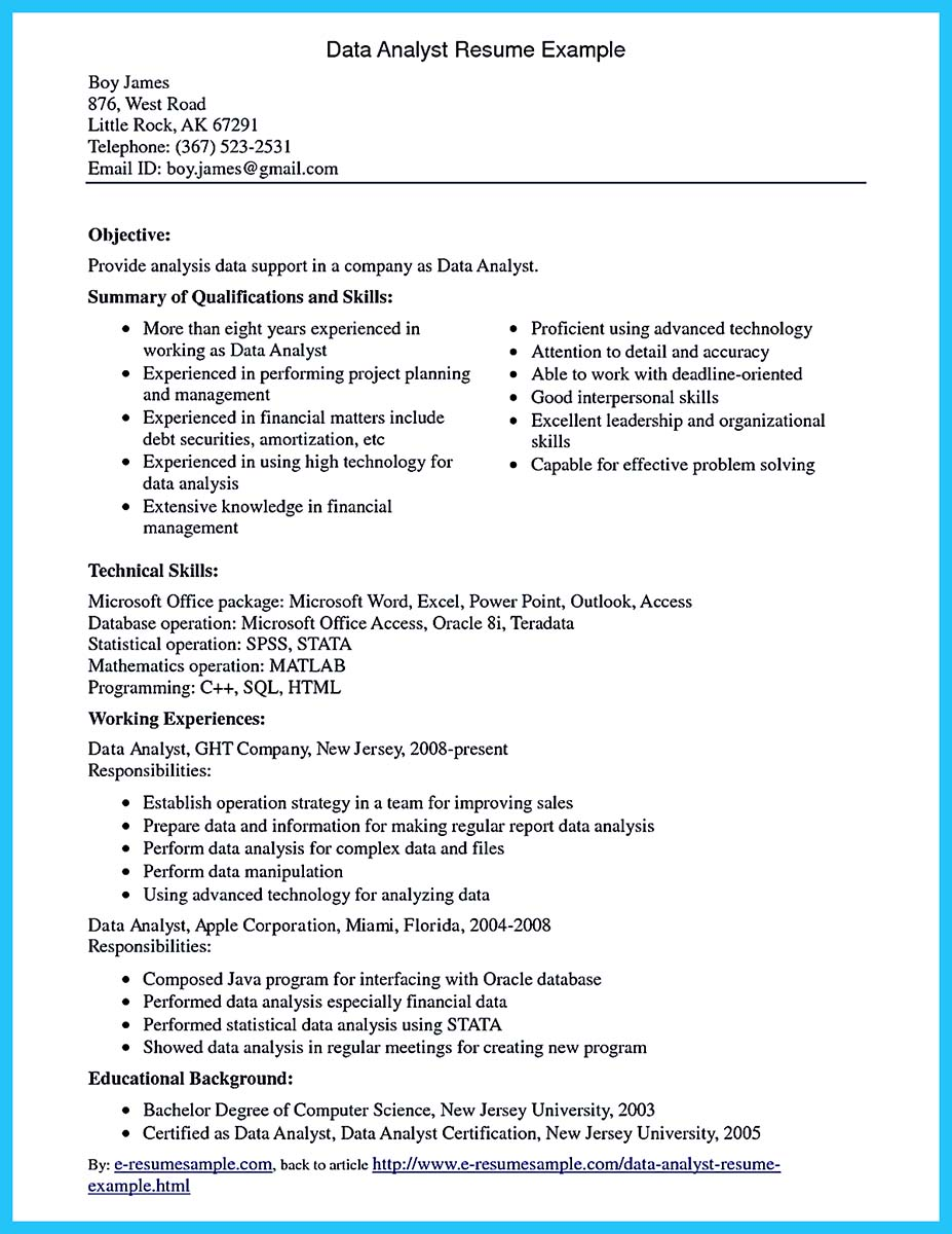 business analyst data analyst resume