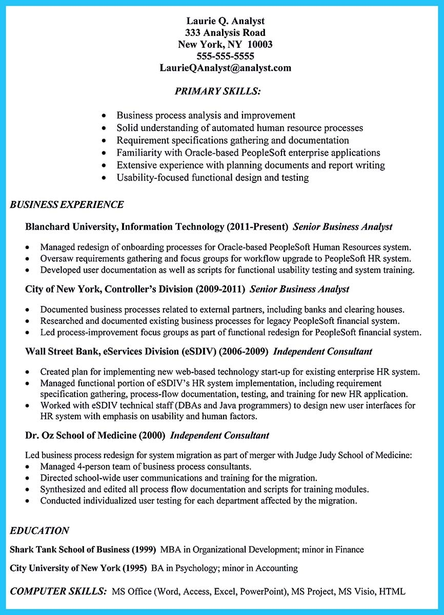 Create your astonishing business analyst resume and gain for Resume samples for it company