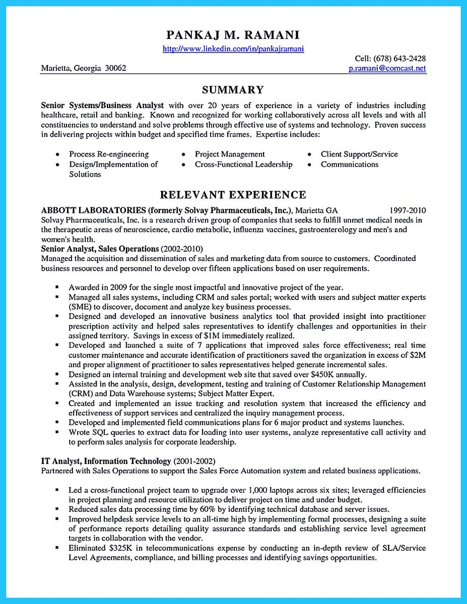 business analyst resume pdf