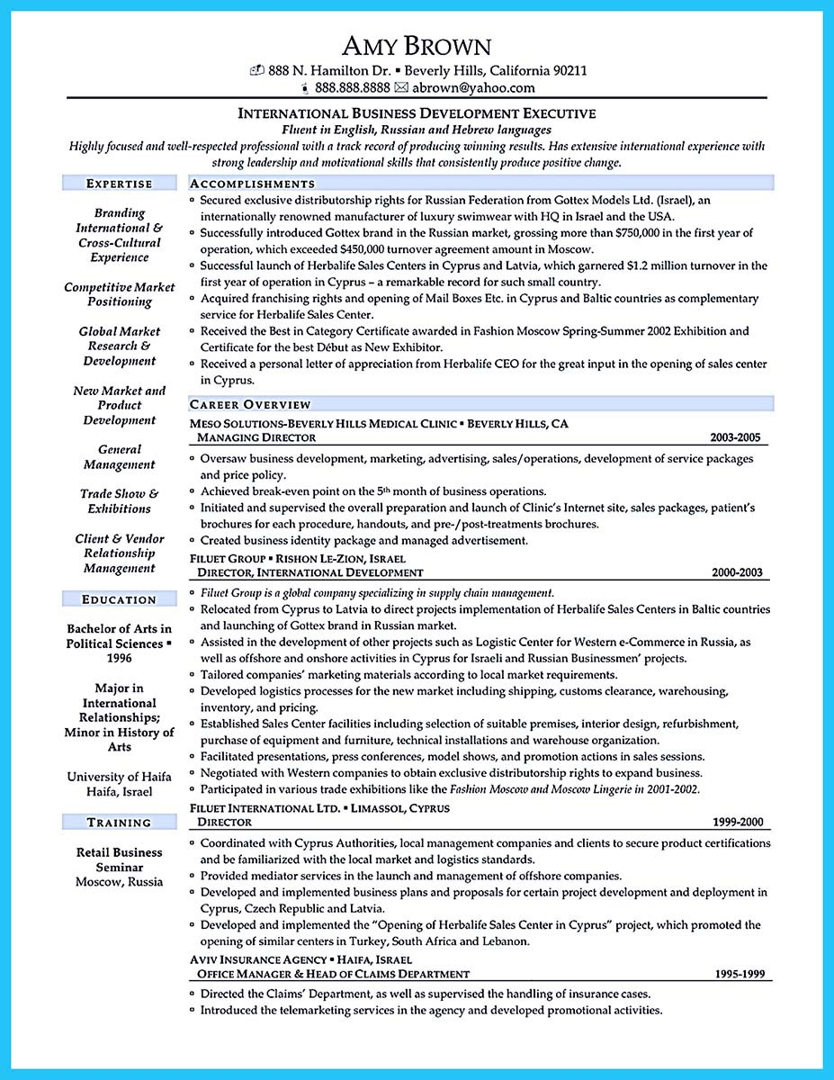... Business Development Manager Job Description For Resume ...  International Business Resume