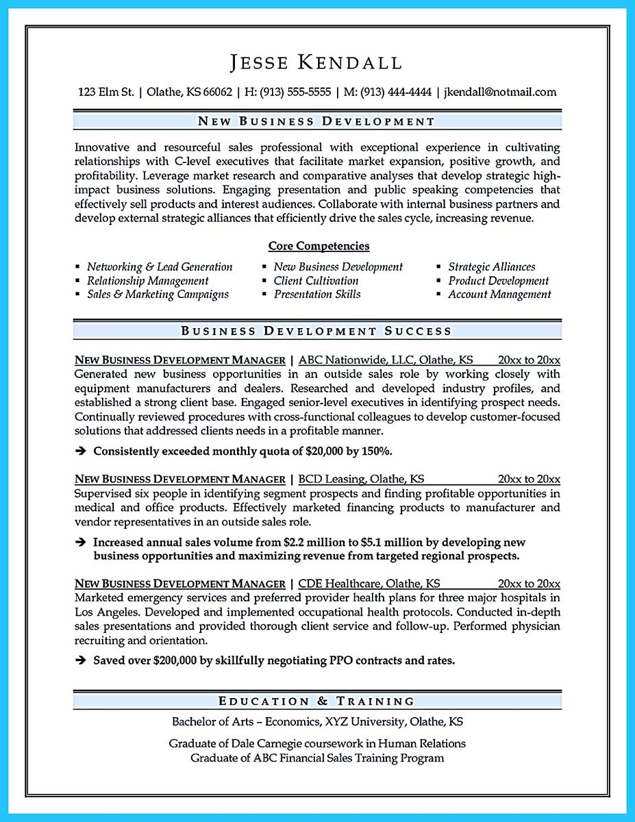 ... Business Development Manager Resume Australia ...
