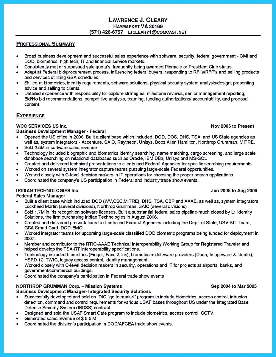 sample resume for business development manager