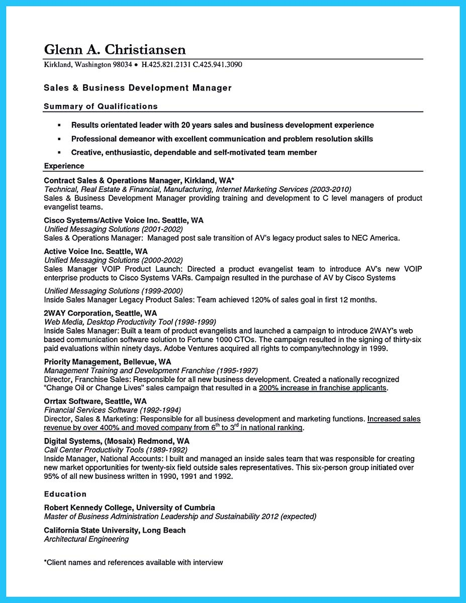 business development resume bullet points