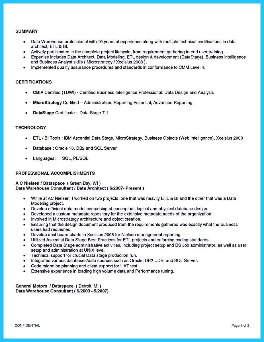 datastage sample resume