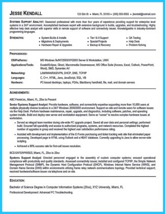 business systems analyst resume description
