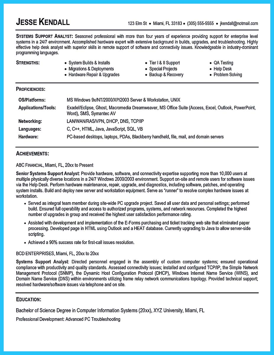 ... Business Systems Analyst Resume Description ...  Business Systems Analyst Resume