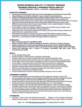business systems analyst resume indeed