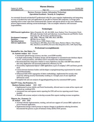 business systems analyst resume objective