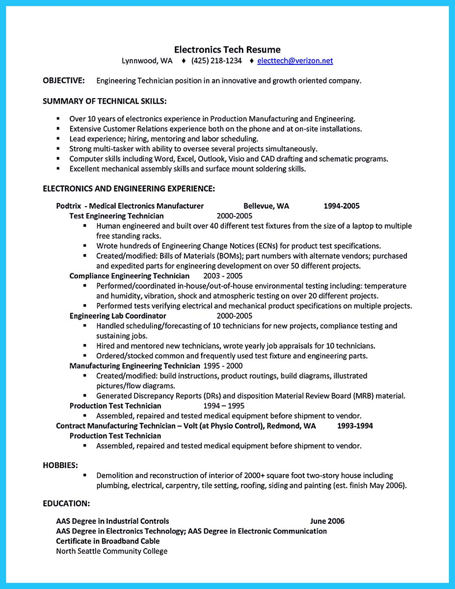 cable field service technician resume sample