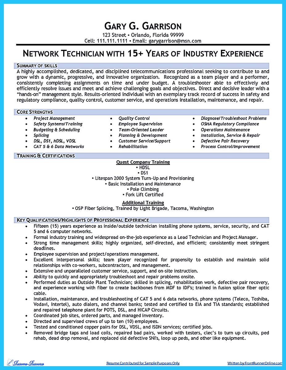 cable technician job description resume