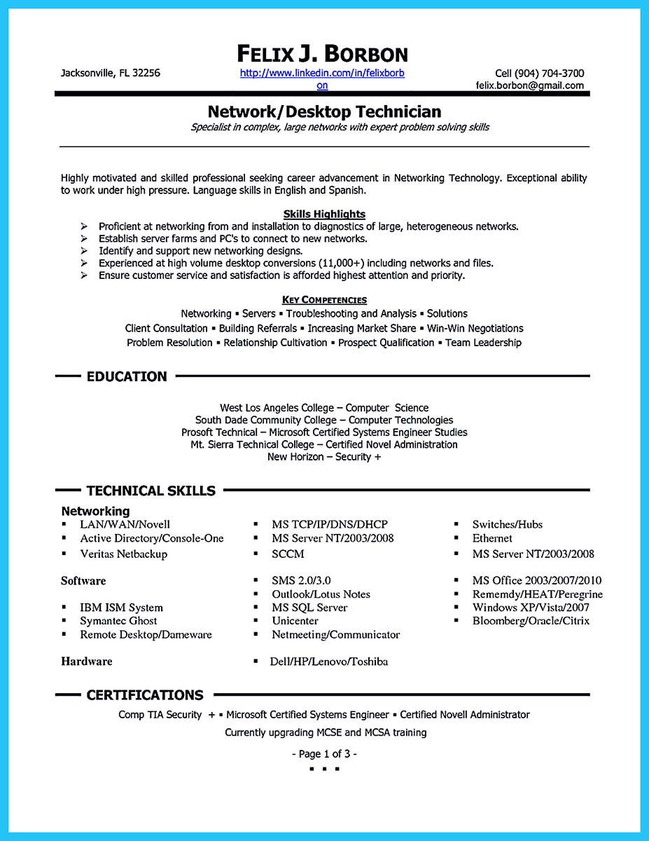 cable technician job resume