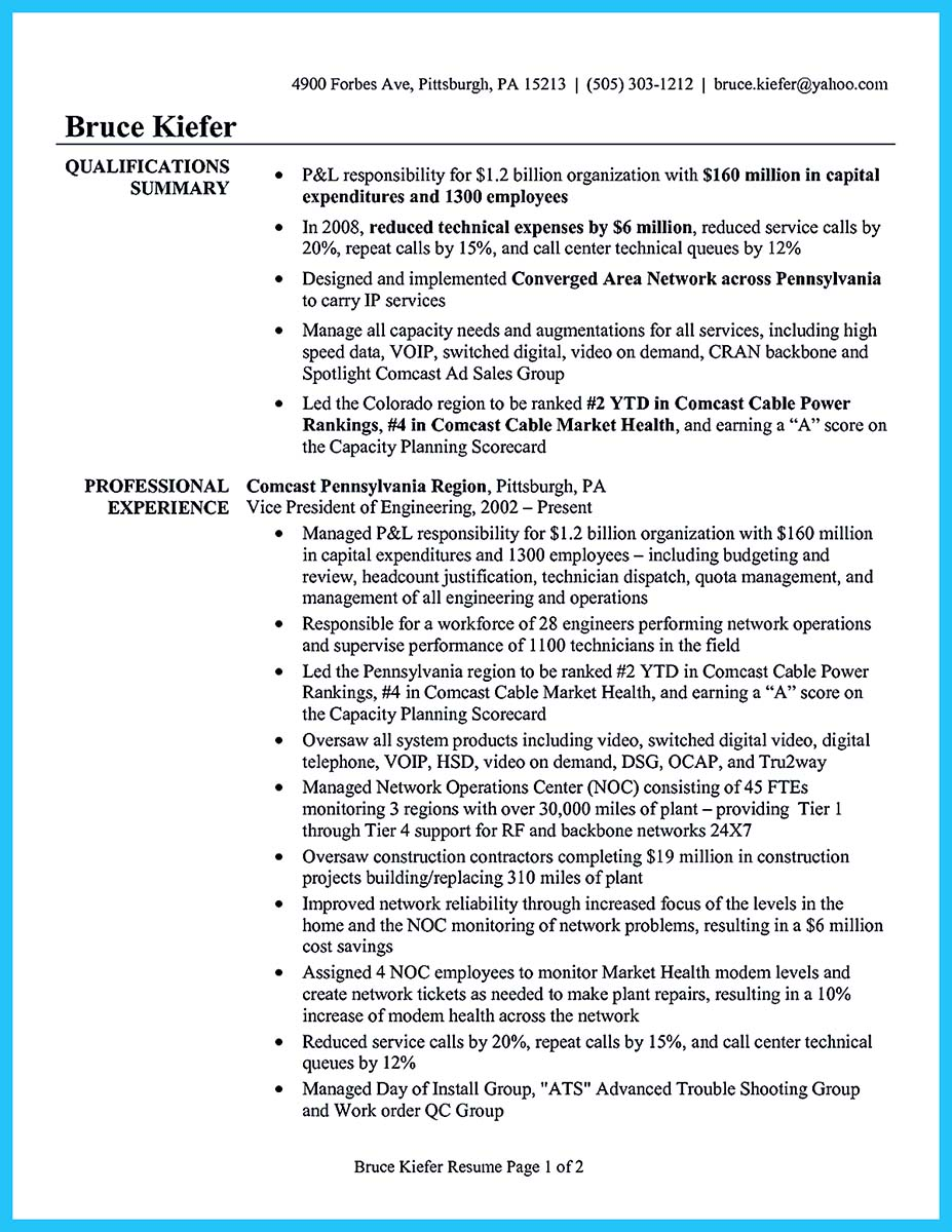 cable technician resume