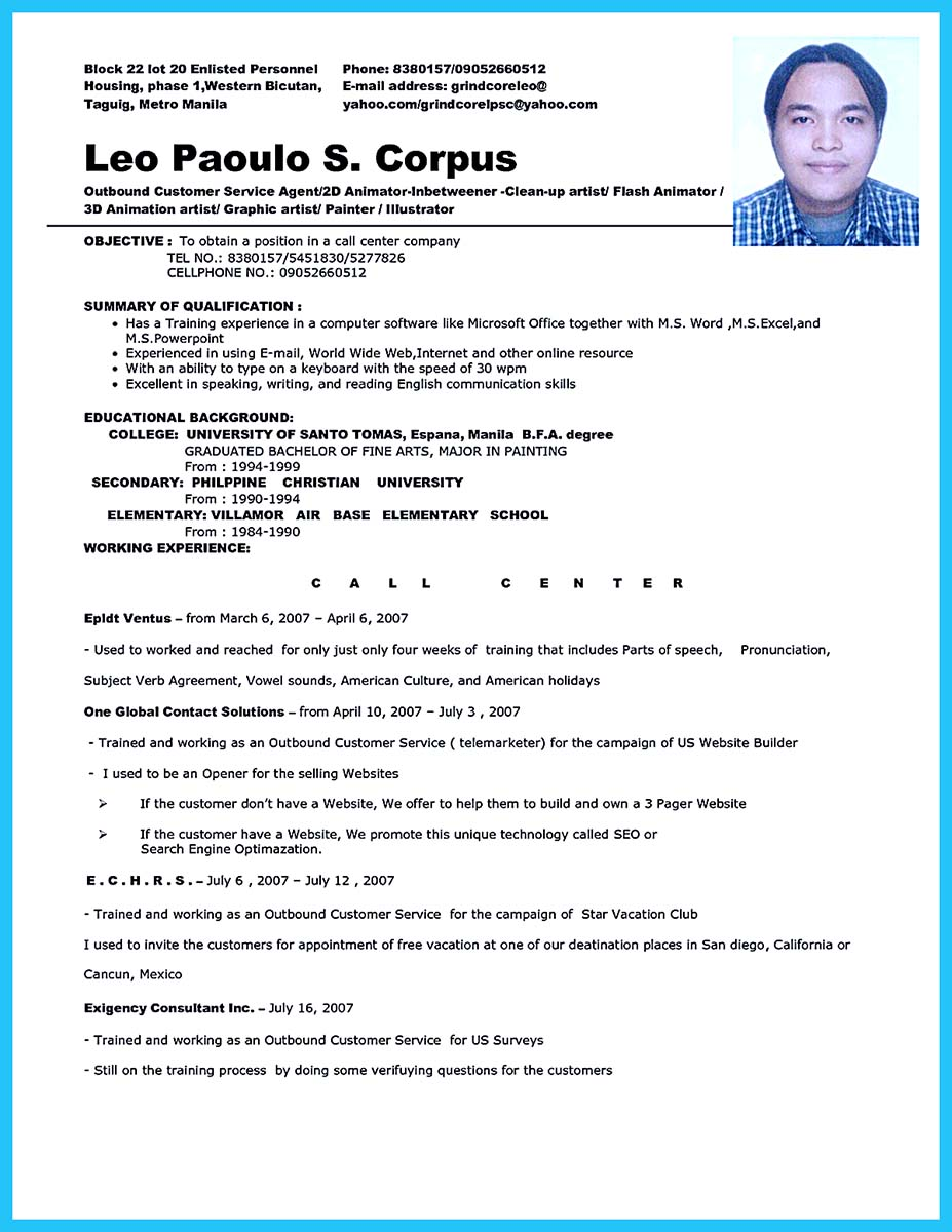 job resume form resume format download pdf - Call Center Resume Samples