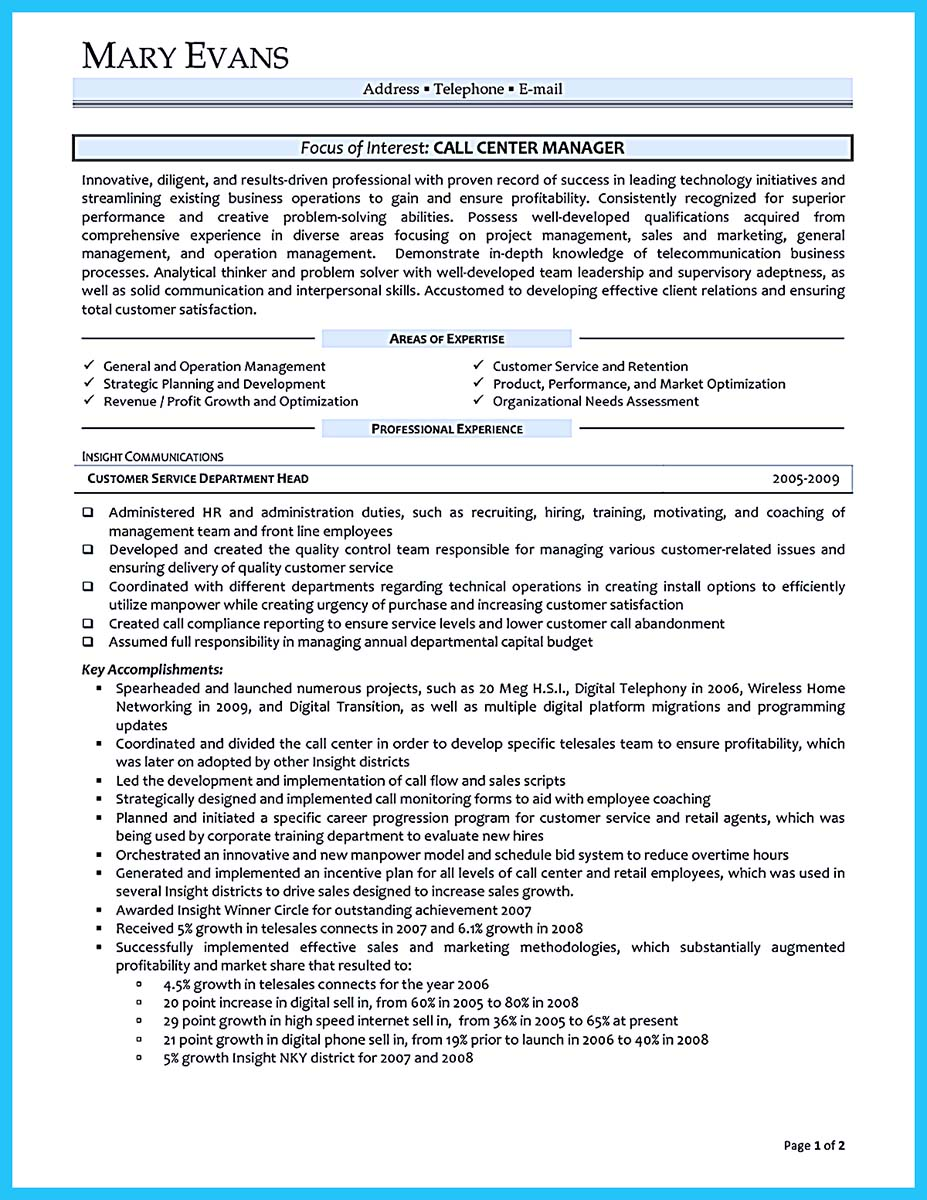 call center resume 2016