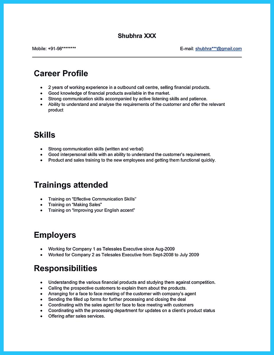 Sample Resume Call Center Job Fresher