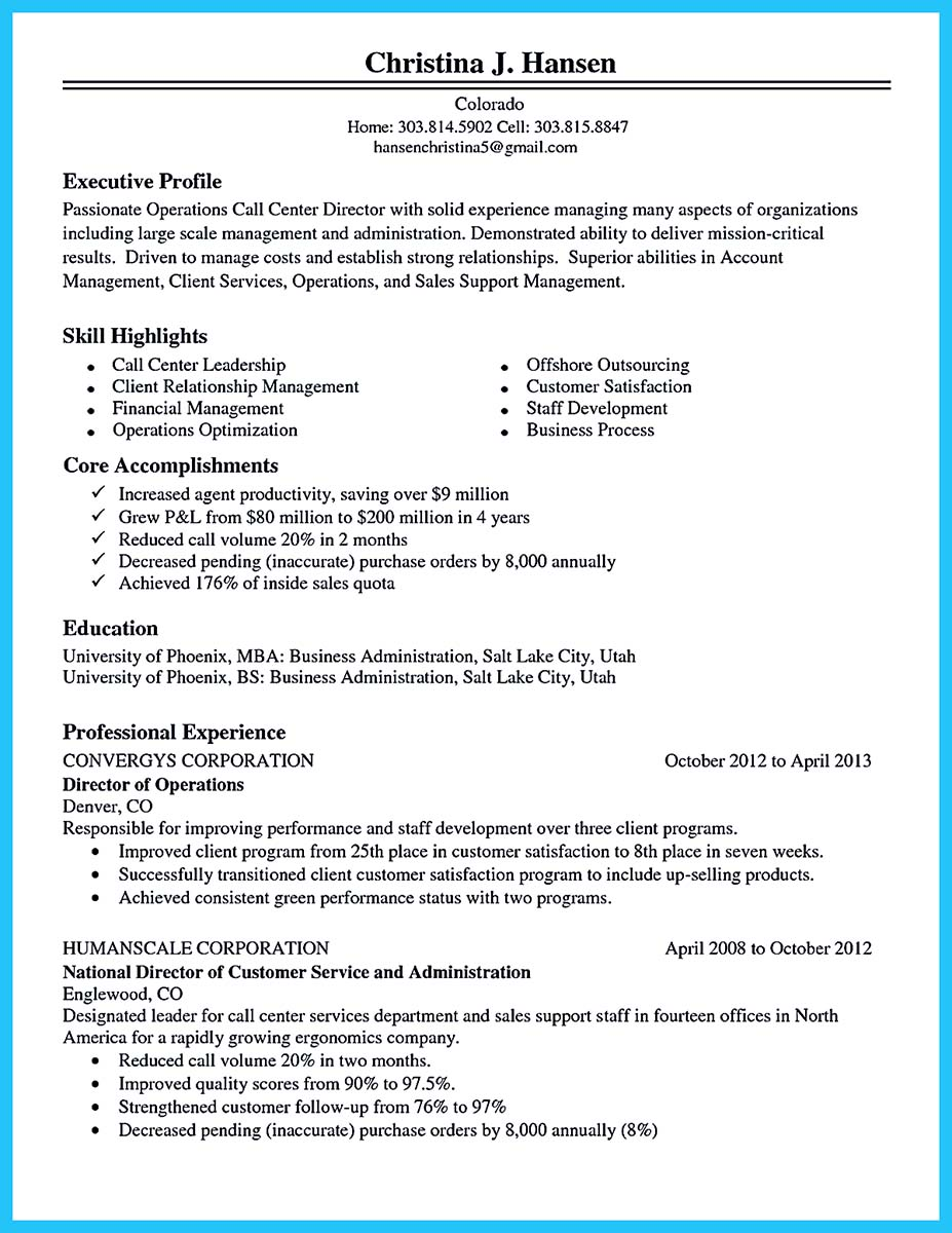 call center resume cover letter examples