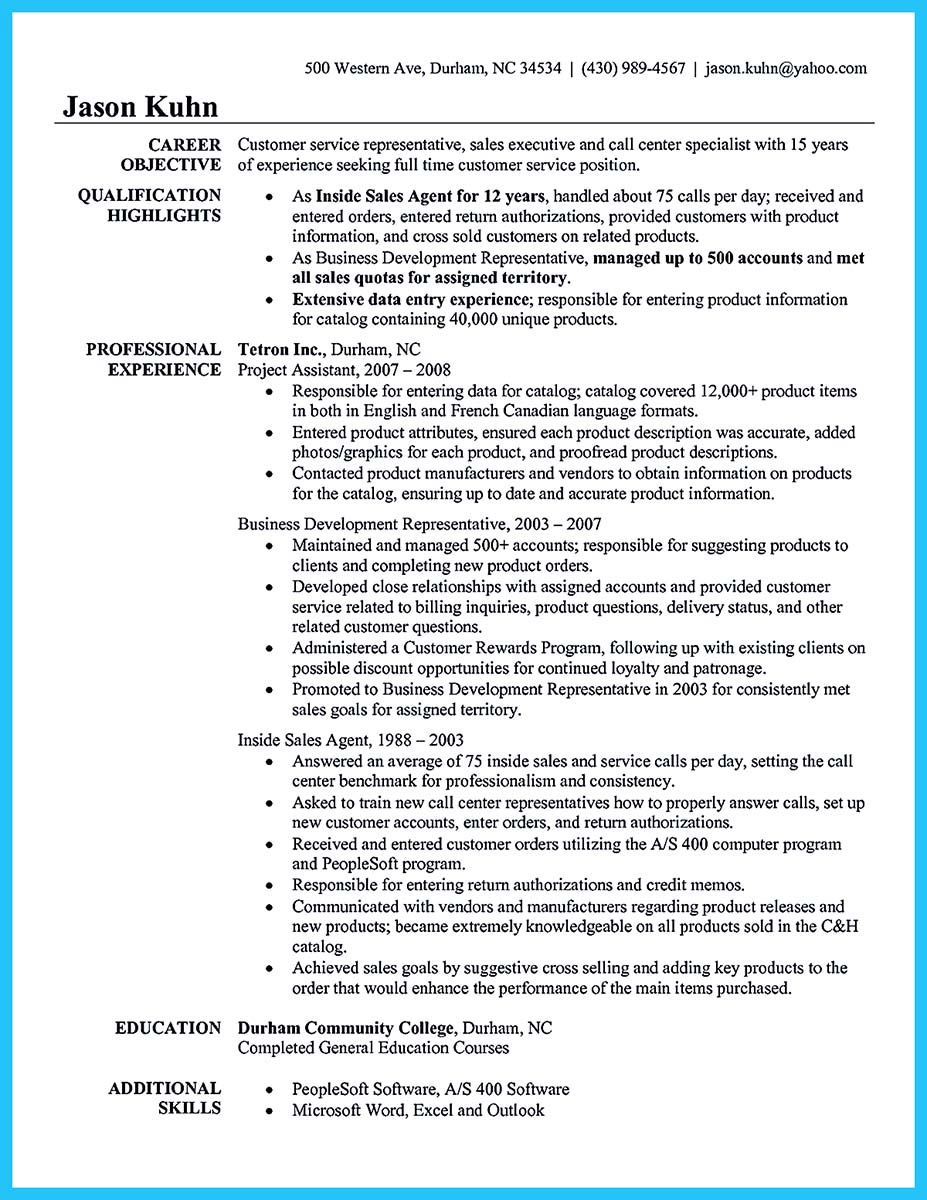 call center resume objectives