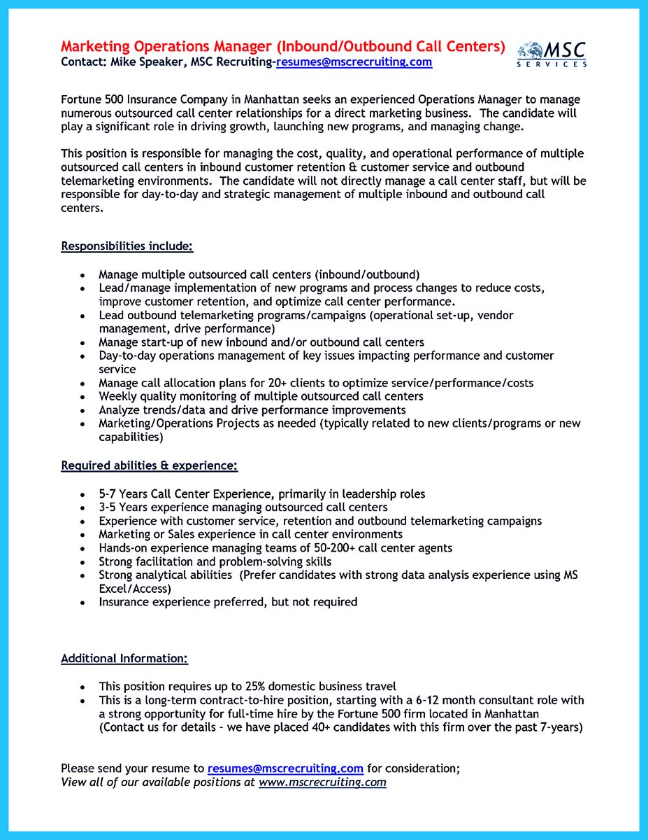 call center resume pdf