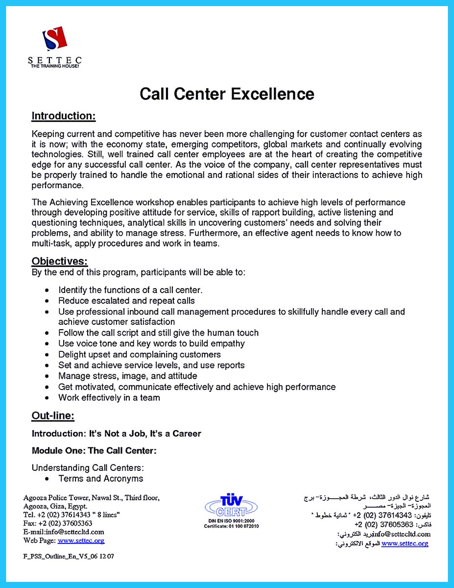 call center resume responsibilities