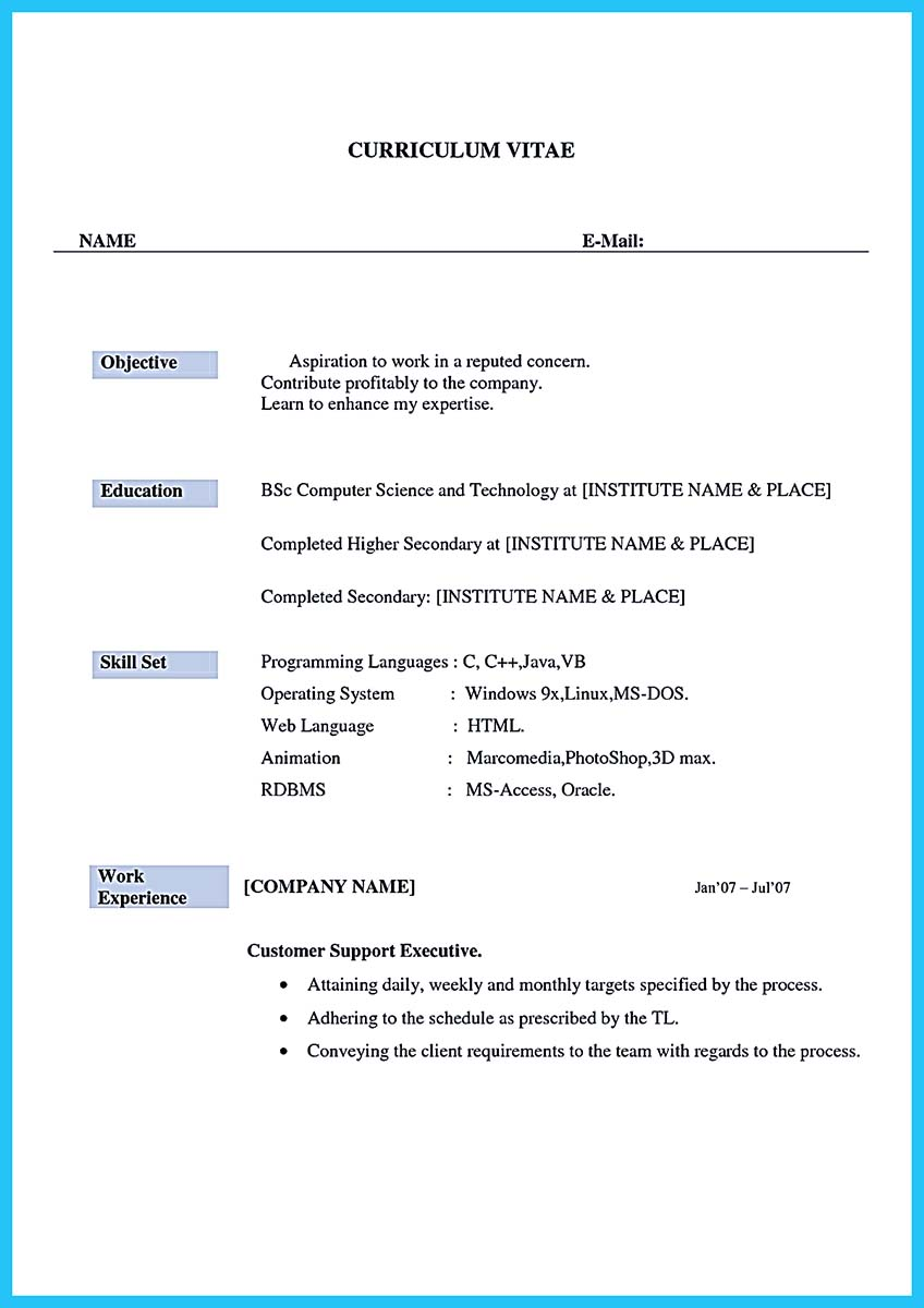 Sample Resume Format For Call Center