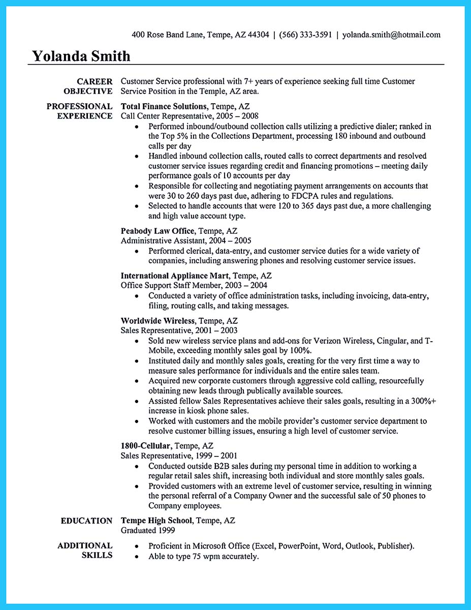 call center resume