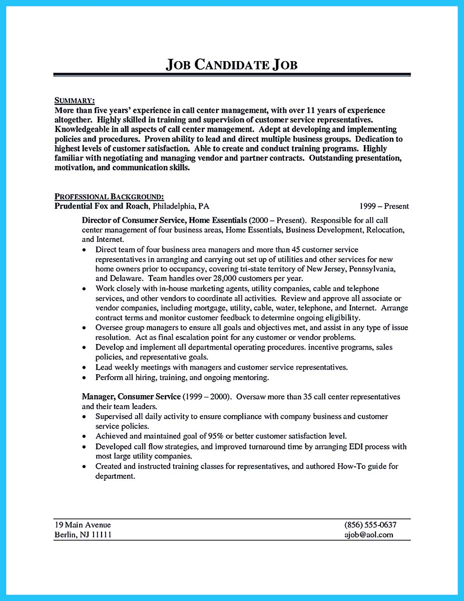 call center supervisor resume summary