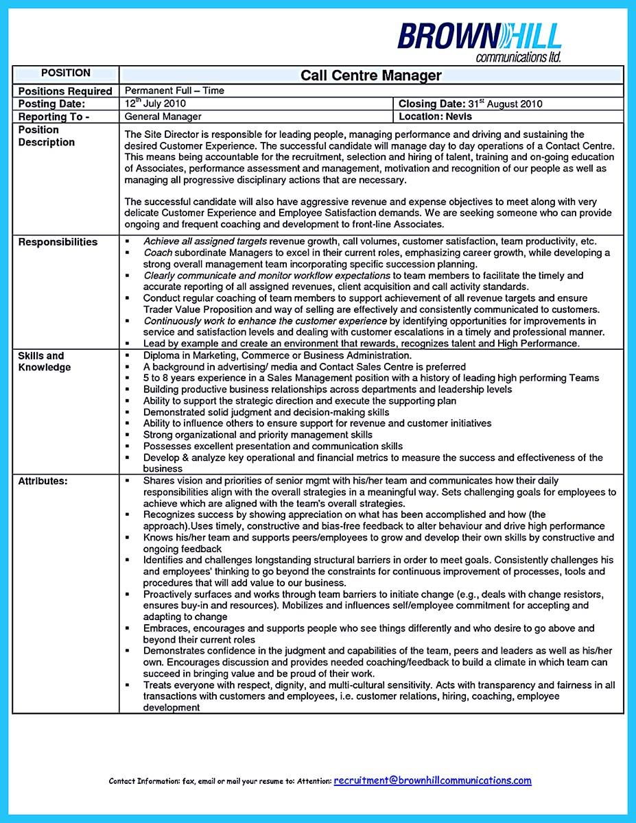 call center supervisor resume templates